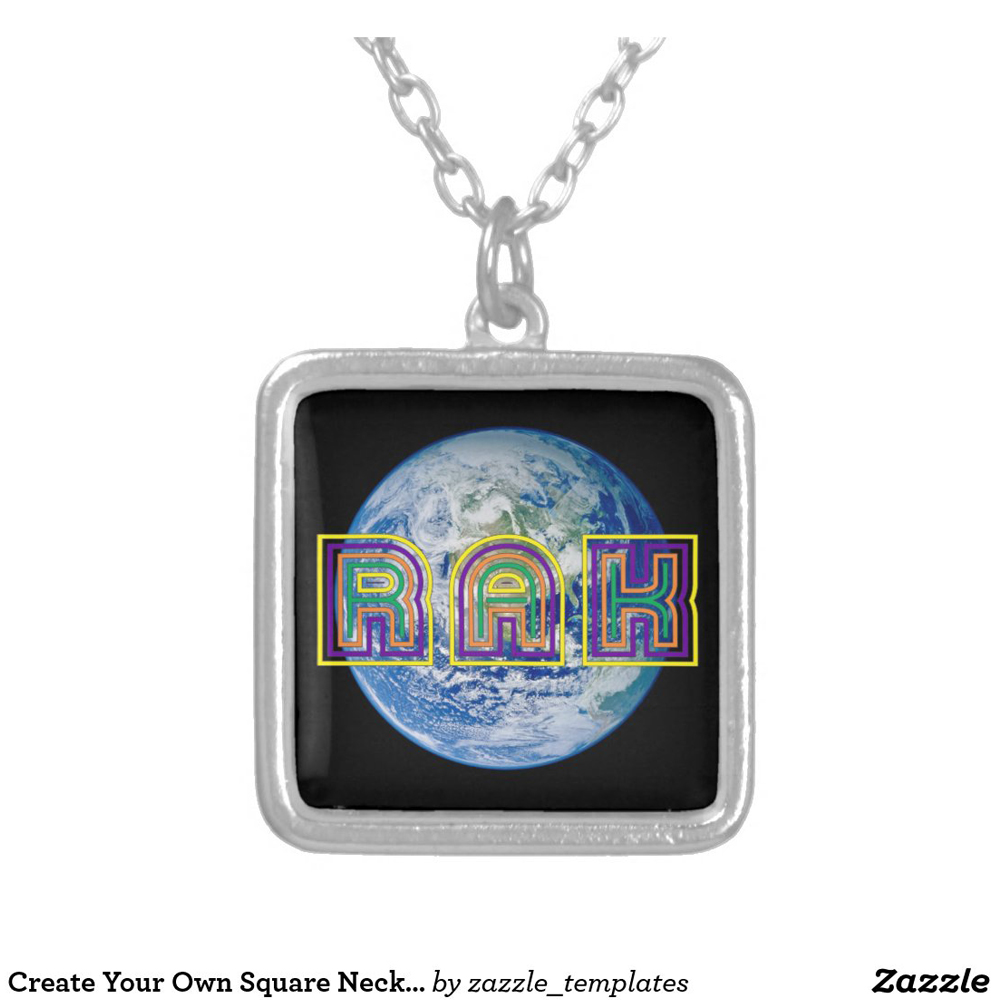 Silver Plated Square Necklace RAK with Planet